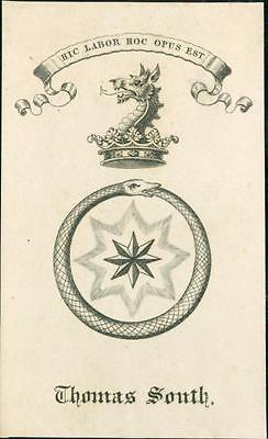 Thomas South. Hic labor, hoc opus est   Bookplate Qi.236