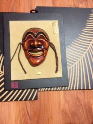 Unique Asian carved wooden with 2 wall decors and Mask Man masquerade excellent