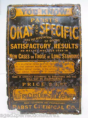 Antique PABST'S Okay Specific Quack Medicine Sign STD drug store ad tin embossed