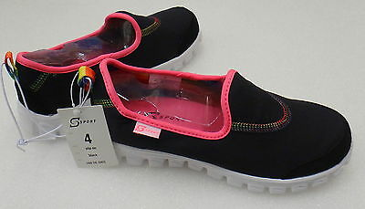 S SPORT by SKECHERS GIRL'S BLACK & PINK SLIP ON SNEAKERS CASUAL SHOES Canvas New