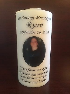 """6"""" Memorial Photo Candle, Wedding Candle, Funeral Candle, Tribute, Unity, Pillar"""