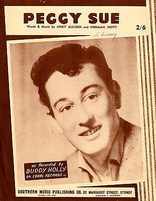 Buddy Holly - Peggy Sue - Vintage Sheet Music Australia
