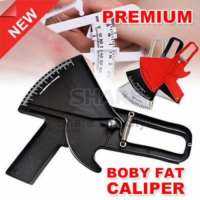 Slim Skinfold Skin Fold Tester Body Fat Caliper Test Measurement Guide 0-80MM