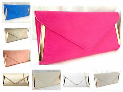 New Fuschia Pink White Faux Leather Evening Day Clutch Bag Wedding Prom Party