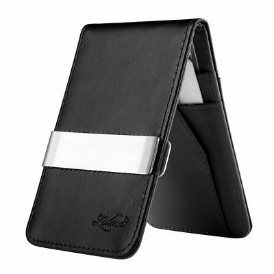 Mens Genuine Leather Silver Fashion Money Clip Wallets Black ID Card Holder