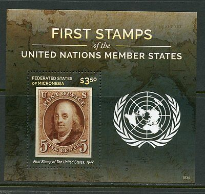 Micronesia 2016 First Stamps Of The United Nations  Member States S/s Us#1 Nh