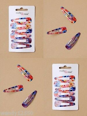 PACK OF 6 CARDS FLORAL PRINT 4cm SLEEPIES (6/CARD) HAIR ACCESSORY - SP-6018 PK6
