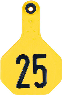 Y-Tex Numbered Medium Cattle ID Ear Tags Yellow 1 - 25*