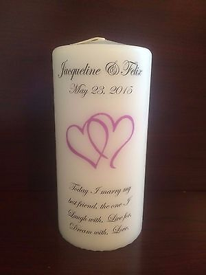 """6"""" Wedding Pillar Candle, Anniversary Candle, Tribute, Unity, Family"""