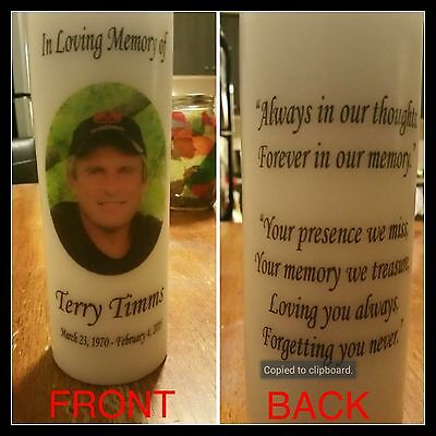 """8"""" Memorial Photo Candle, Wedding Candle, Funeral Candle, Tribute, Unity, Pillar"""