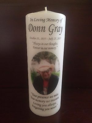 """8"""" Memorial Photo Candle, Wedding, Funeral, Tribute, Unity, Personalized, Pillar"""