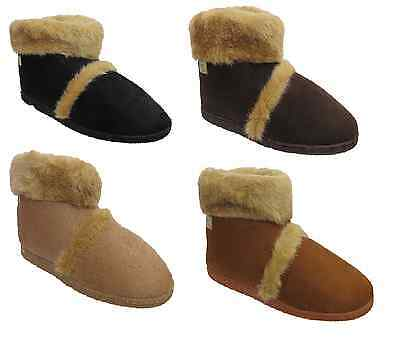 New Mens Coolers Hard Sole Furry Snow Warm Snugg Flat Ankle Slipper Boots Shoes