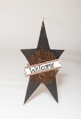 Decorative Extra Large Hanging Star with Wreath Welcome Sign Amish Made USA