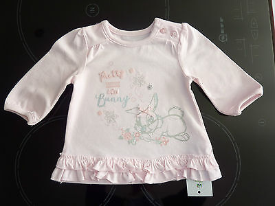 "DISNEY Really Cute ""Pretty MISS BUNNY"" Pink Long Sleeve Top NWT"
