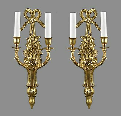 Regency Brass Gold Wall Sconces c1950 Vintage Antique Lights French Style