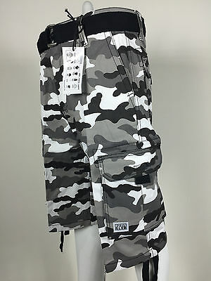 NWT Mens Pro Club CIty Camo Black Twill Cargo Shorts Casual Short Waist 30 - 50