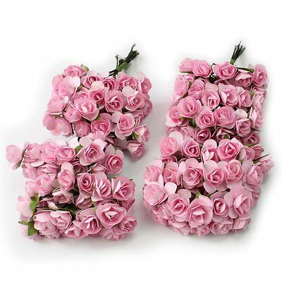 144X Mini Petite Artificial Paper Rose Bud Flower Wedding Card Candy Decoration