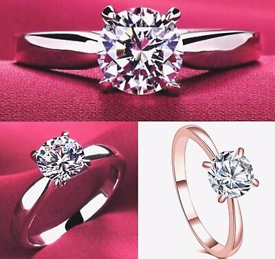 Rose Gold & Silver Plated Cubic Zirconia Womens Engagement Solitaire Ring K to R