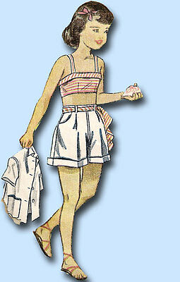 1940s Vintage Simplicity Sewing Pattern 2857 Junior Girls Bra Top & Shorts Sz 12