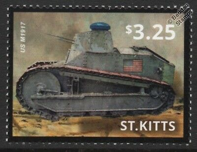 WWI USA/American Expeditionary Force M1917 Light Tank Stamp (2015 St Kitts)
