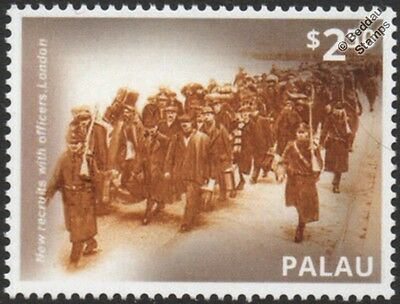 WWI 1914 British Army New Recruits March Alongside Officers into London Stamp