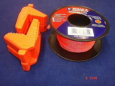 Pair of Spear & Jackson Bricklayer's Rubber Line Blocks WITH Orange Line