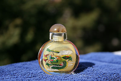 "Chinese Inside Painting Snuff Bottle Two Dueling Dragons Signed ""Jane"""