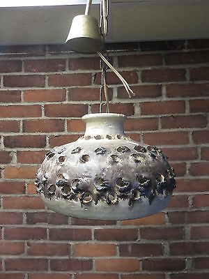 Vintage Mid Century Modern Pottery Ceramic Hanging Ceiling Light Fixture