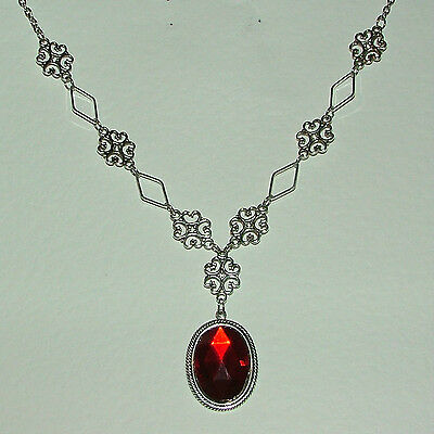 Lacy Filigree Victorian Style Rich Red Crystal Dk Silver Plated Pendant Necklace