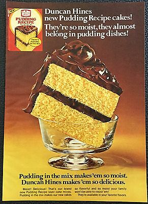 Vintage 1978 Duncan Hines cake mix, pudding recipe Magazine Ad Print - dishes