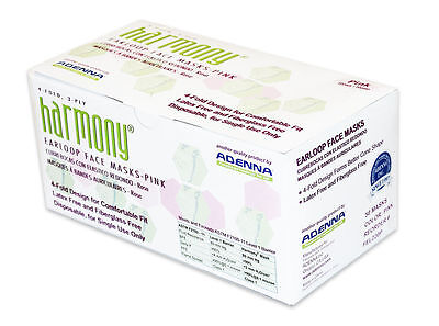 500 X Adenna Harmony EarLoop Surgical Flu Medical Face Mask 3 PLY PINK