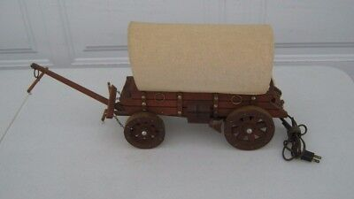 Vintage 1950's Wood Western Covered Wagon Table/T.V. Light