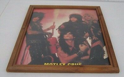 Vintage 80's Motley Crue Wood Framed Carnival Fair Picture 18 x 22