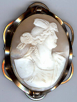*large Antique Gold Tone Frame Carved Greek God Psyche Shell Cameo Pin*
