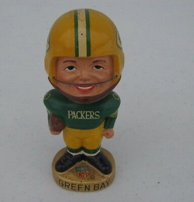 "Vintage 1965-1968 Green Bay Packers ""Realistic Face"" Nodder Bobble Head A Beauty"