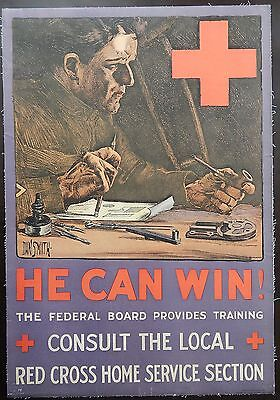 Original WWI WWII Red Cross Poster War He Can Win Linen 19x27
