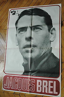 JACQUES BREL 60s RARE AFFICHE FRENCH POSTER DISQUES BARCLAY ORIGINAL