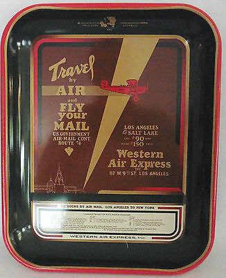 Vintage Advertising Reproduction Tray Western Air Express