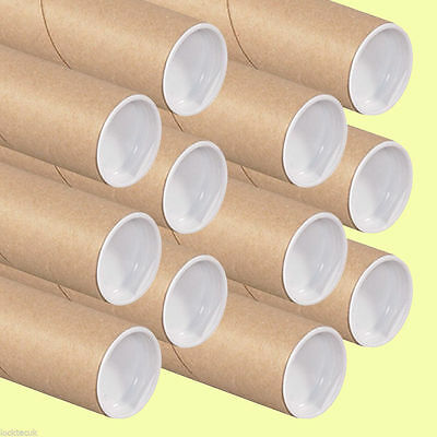 """Quality Postal Tubes -610m or 940mm x 76mm x 1.5mm (3"""")  With End Caps box of 12"""