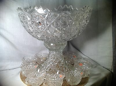 Vintage Fostoria Rosby Punch Clear Glass Bowl Set With Stand & 12 Cups w/ Labels