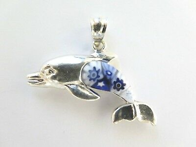 Vintage MILLEFIORE Murano Glass Auth. ALAN K Sterling 925 Dolphin Pendant C65