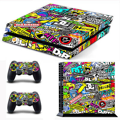 Colorful Game Decal Skin Sticker For PS4 PlayStation Console with 2 Controller