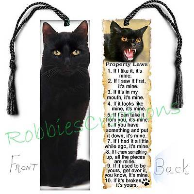 "BLACK CAT BOOKMARK Large 6"" w/TASSEL RULES Attitude Laws Book Mark CARD figurine"