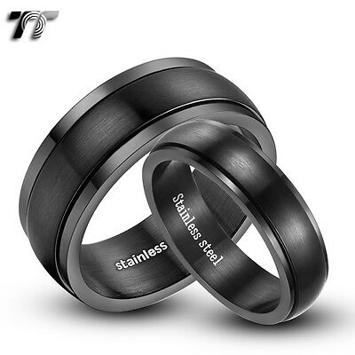 TT 6mm&8mm  Brushed S.Steel Wedding Spin Band Ring For Couple Size 6-15 NEW