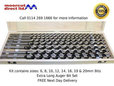 Wood Drilling Auger Bit Set Hex Fitting 6-20mm 8pc ( Extra Length)