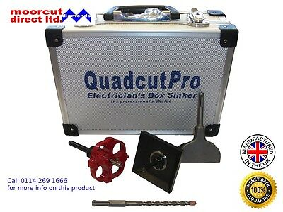Quadcut PRO Range Single Kit Electricians Square Hole Cutter Box Sinker Sds Plus