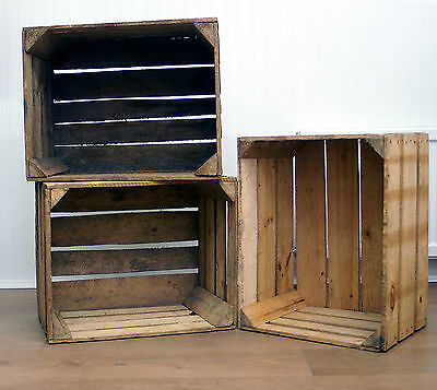 2 x RUSTIC VINTAGE WOODEN APPLE CRATES STORAGE BOX FRUIT BUSHEL SHABBY CHIC (CR8