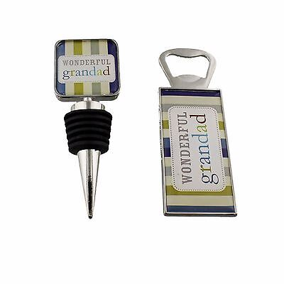 Wonderful Grandad Bottle Stopper and Opener Fathers Day Birthday Gift Set