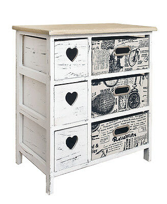 Mobili Rebecca® Cupboard Chest of Drawers 6 Drawers White Light Wood Shabby