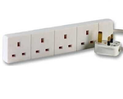 4-Way Extension Lead - Four Gang Multi Plug Socket - White Power Cable